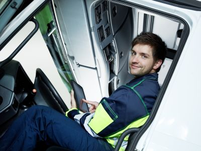 Fahrer des Montagemobil
